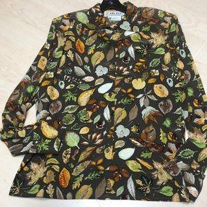 EUC Carlisle leaf print silk blouse w/scarf sz 12